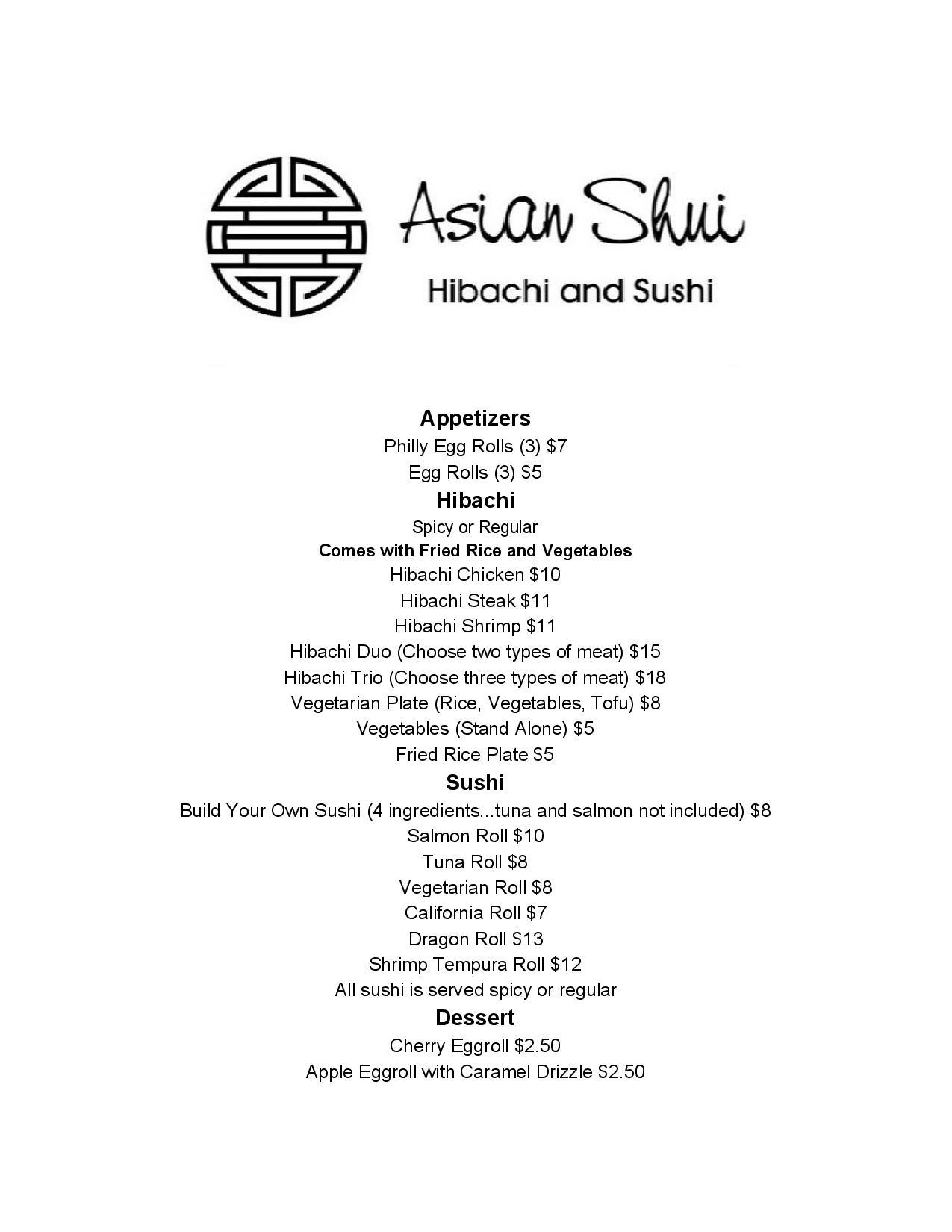 Asian Shui Menu